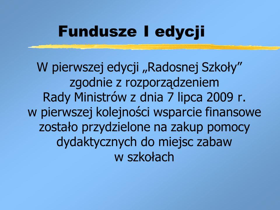 Fundusze I edycji W pierwszej edycji Radosnej Szkoły zgodnie z rozporządzeniem Rady Ministrów z dnia 7 lipca 2009 r.