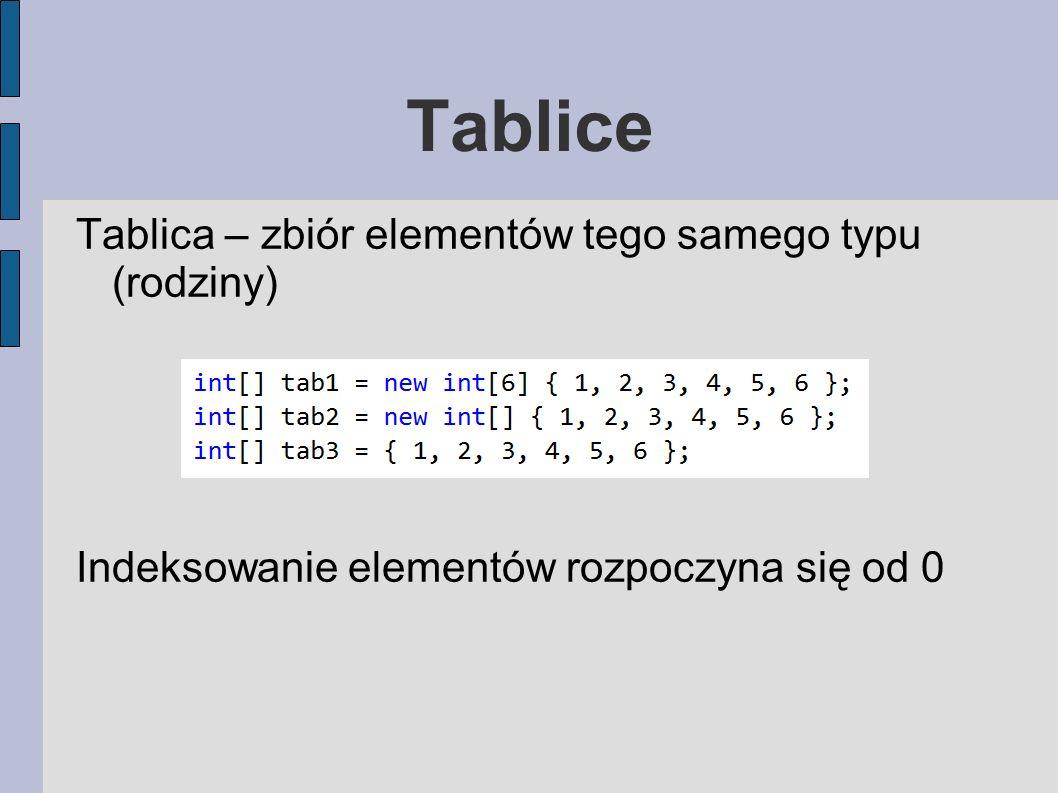 Tablice Tablica – zbiór elementów tego samego typu (rodziny) Indeksowanie elementów rozpoczyna się od 0