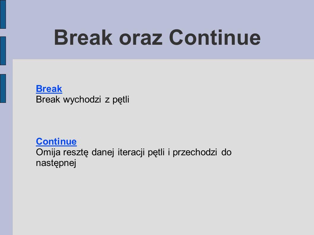 Break oraz Continue Break Break wychodzi z pętli Continue Omija resztę danej iteracji pętli i przechodzi do następnej