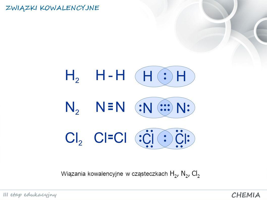 Wiązania kowalencyjne w cząsteczkach H 2, N 2, Cl 2