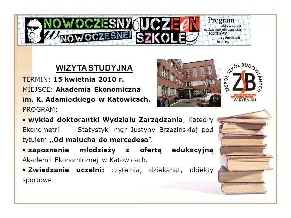 WIZYTA STUDYJNA TERMIN: 15 kwietnia 2010 r. MIEJSCE: Akademia Ekonomiczna im. K. Adamieckiego w Katowicach. PROGRAM: wykład doktorantki Wydziału Zarzą