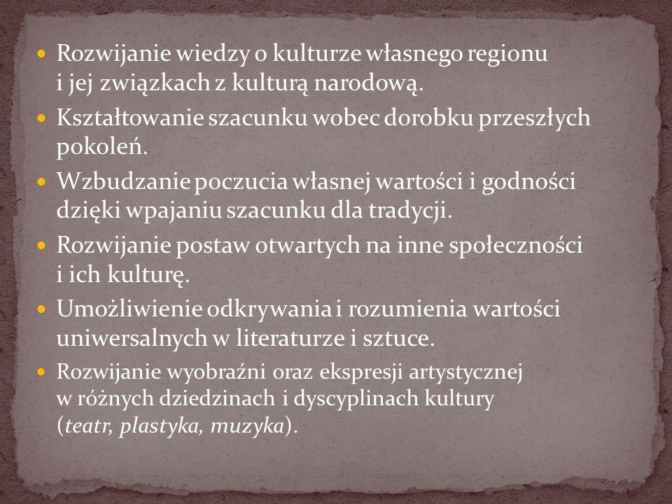 Rozwijanie wiedzy o kulturze własnego regionu i jej związkach z kulturą narodową. Kształtowanie szacunku wobec dorobku przeszłych pokoleń. Wzbudzanie