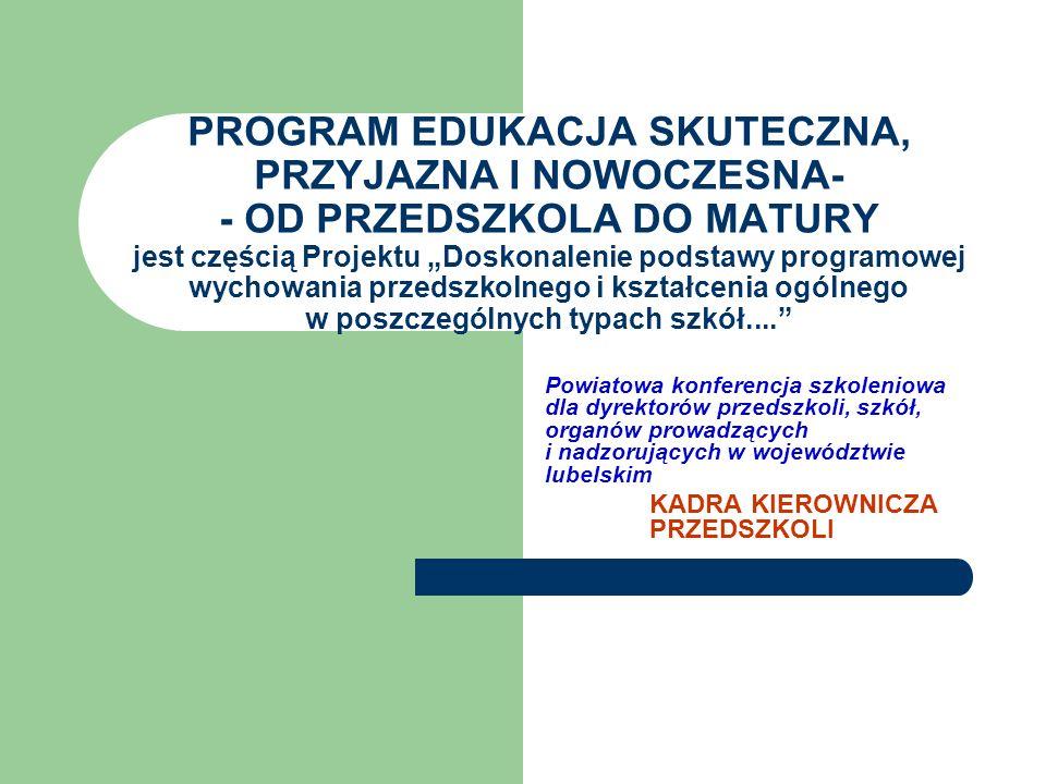 PROGRAM EDUKACJA SKUTECZNA, PRZYJAZNA I NOWOCZESNA- - OD PRZEDSZKOLA DO MATURY jest częścią Projektu Doskonalenie podstawy programowej wychowania przedszkolnego i kształcenia ogólnego w poszczególnych typach szkół....
