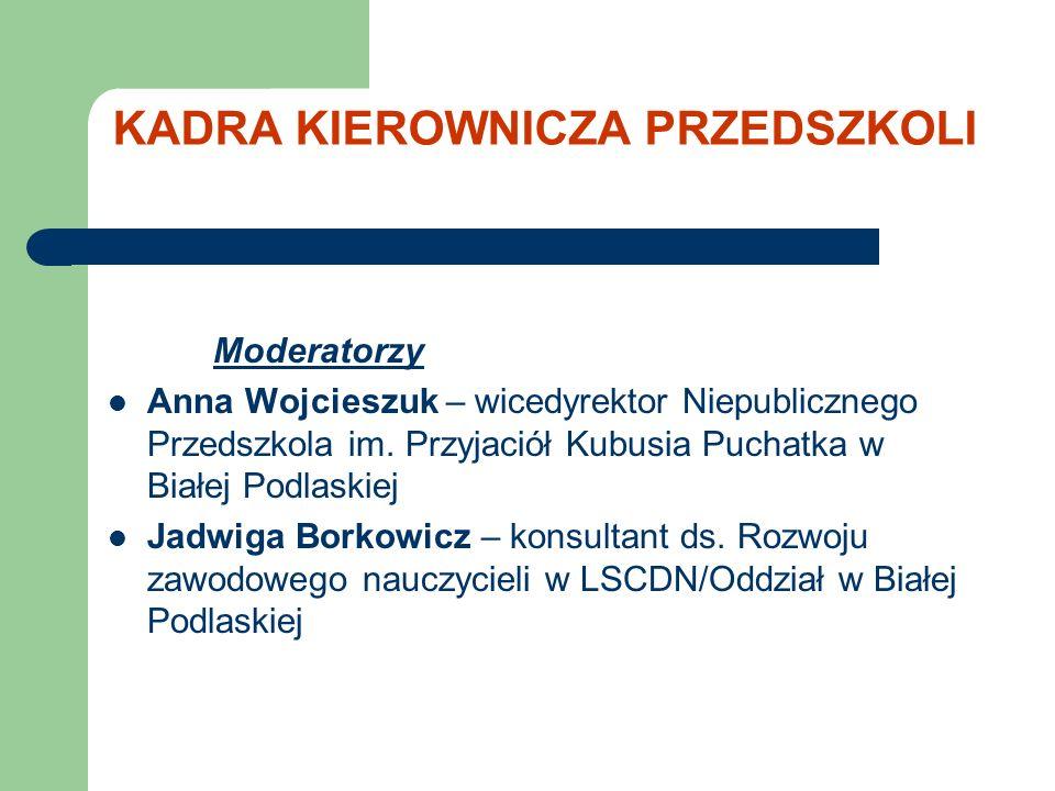 KADRA KIEROWNICZA PRZEDSZKOLI Moderatorzy Anna Wojcieszuk – wicedyrektor Niepublicznego Przedszkola im.