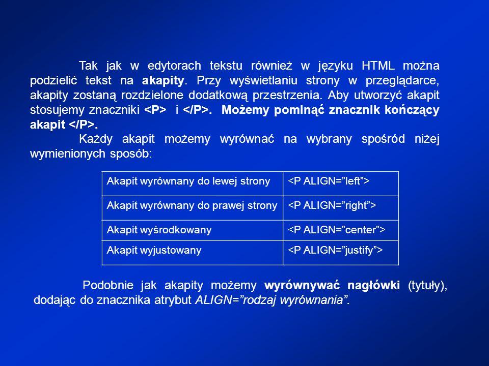 Tak jak w edytorach tekstu również w języku HTML można podzielić tekst na akapity. Przy wyświetlaniu strony w przeglądarce, akapity zostaną rozdzielon