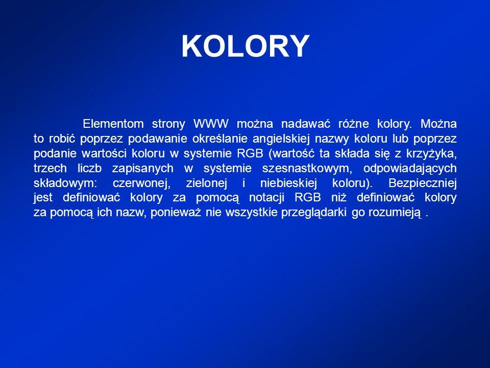 KOLORY Elementom strony WWW można nadawać różne kolory. Można to robić poprzez podawanie określanie angielskiej nazwy koloru lub poprzez podanie warto