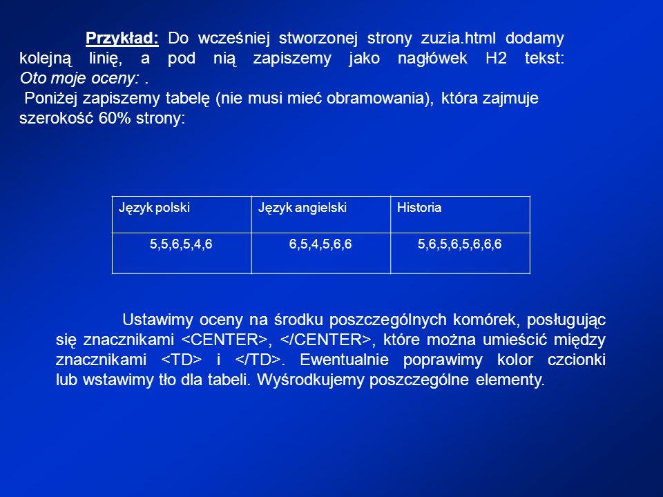 Przykład: Do wcześniej stworzonej strony zuzia.html dodamy kolejną linię, a pod nią zapiszemy jako nagłówek H2 tekst: Oto moje oceny:. Poniżej zapisze