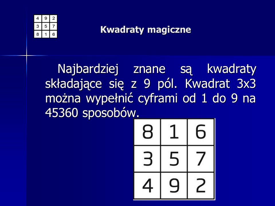 Najbardziej znane są kwadraty składające się z 9 pól. Kwadrat 3x3 można wypełnić cyframi od 1 do 9 na 45360 sposobów. Najbardziej znane są kwadraty sk