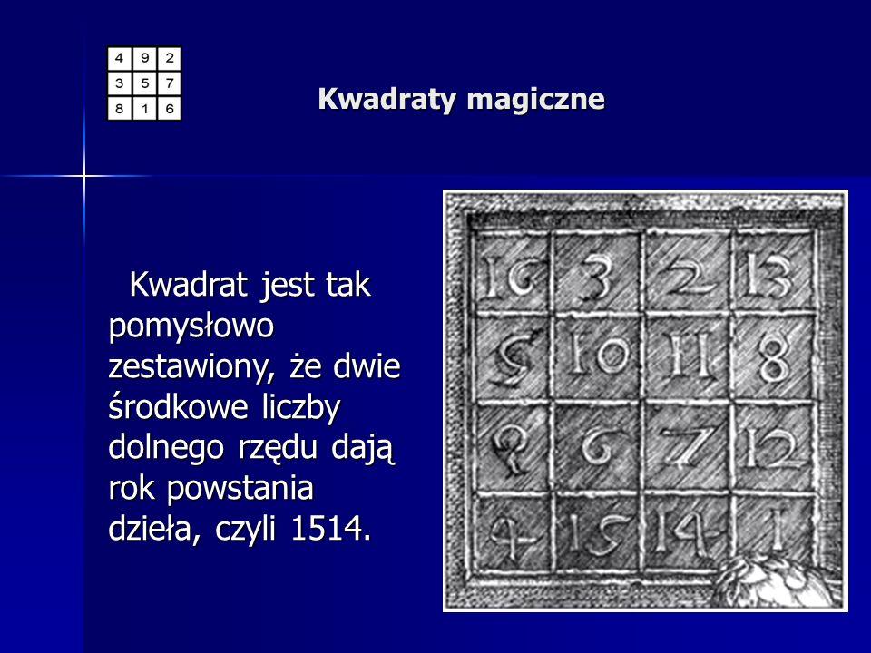 Kwadrat jest tak pomysłowo zestawiony, że dwie środkowe liczby dolnego rzędu dają rok powstania dzieła, czyli 1514. Kwadrat jest tak pomysłowo zestawi