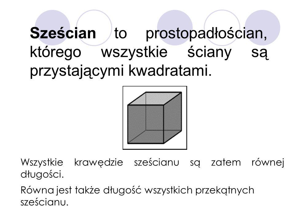 Sześcian to prostopadłościan, którego wszystkie ściany są przystającymi kwadratami. Wszystkie krawędzie sześcianu są zatem równej długości. Równa jest