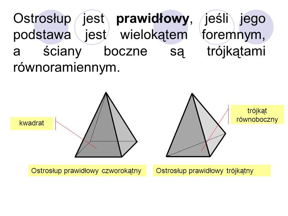 Ostrosłup jest prawidłowy, jeśli jego podstawa jest wielokątem foremnym, a ściany boczne są trójkątami równoramiennym. kwadrat Ostrosłup prawidłowy cz