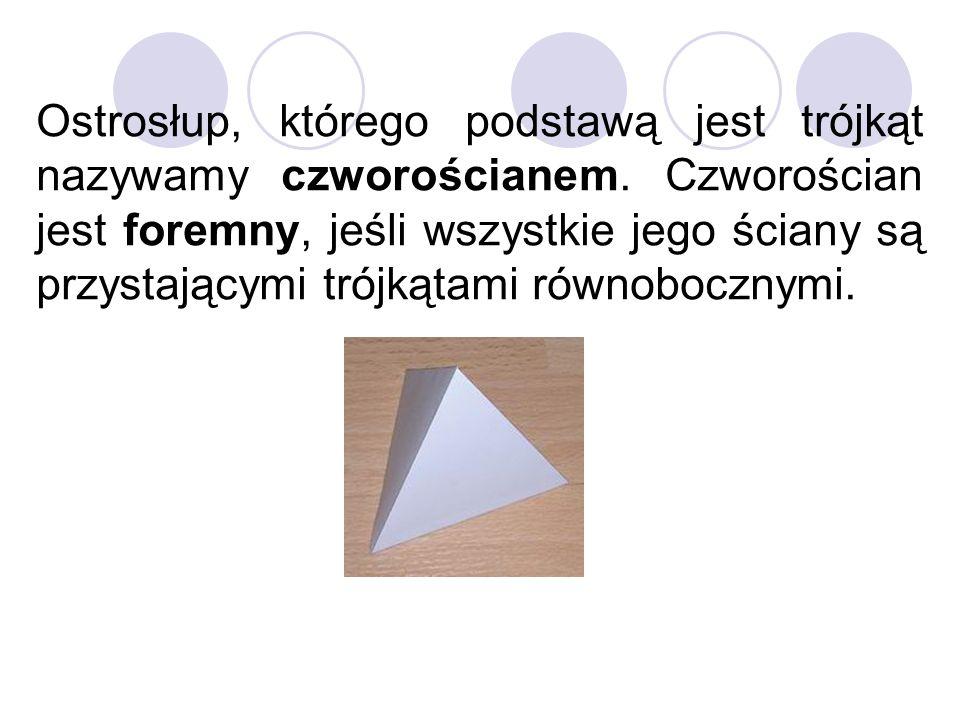 Ostrosłup, którego podstawą jest trójkąt nazywamy czworościanem. Czworościan jest foremny, jeśli wszystkie jego ściany są przystającymi trójkątami rów