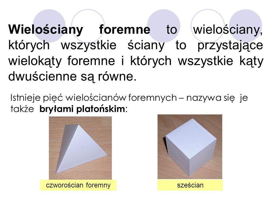 Wielościany foremne to wielościany, których wszystkie ściany to przystające wielokąty foremne i których wszystkie kąty dwuścienne są równe. Istnieje p