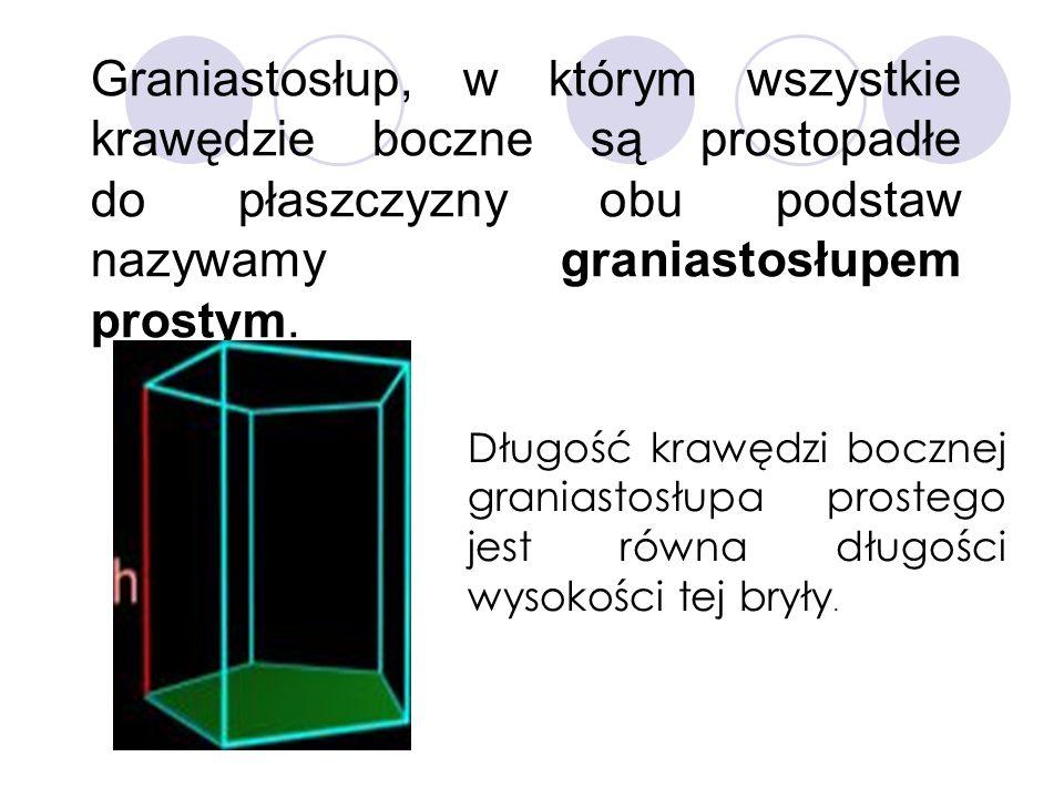 Graniastosłup, w którym wszystkie krawędzie boczne są prostopadłe do płaszczyzny obu podstaw nazywamy graniastosłupem prostym. Długość krawędzi boczne