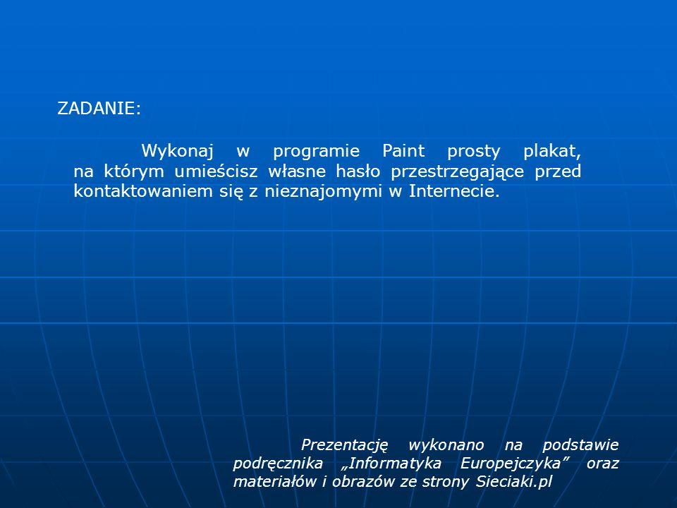 Elementy okna przeglądarki Pasek nazwy Pasek menu Pasek adresu Pole wyszukiwania Widok strony