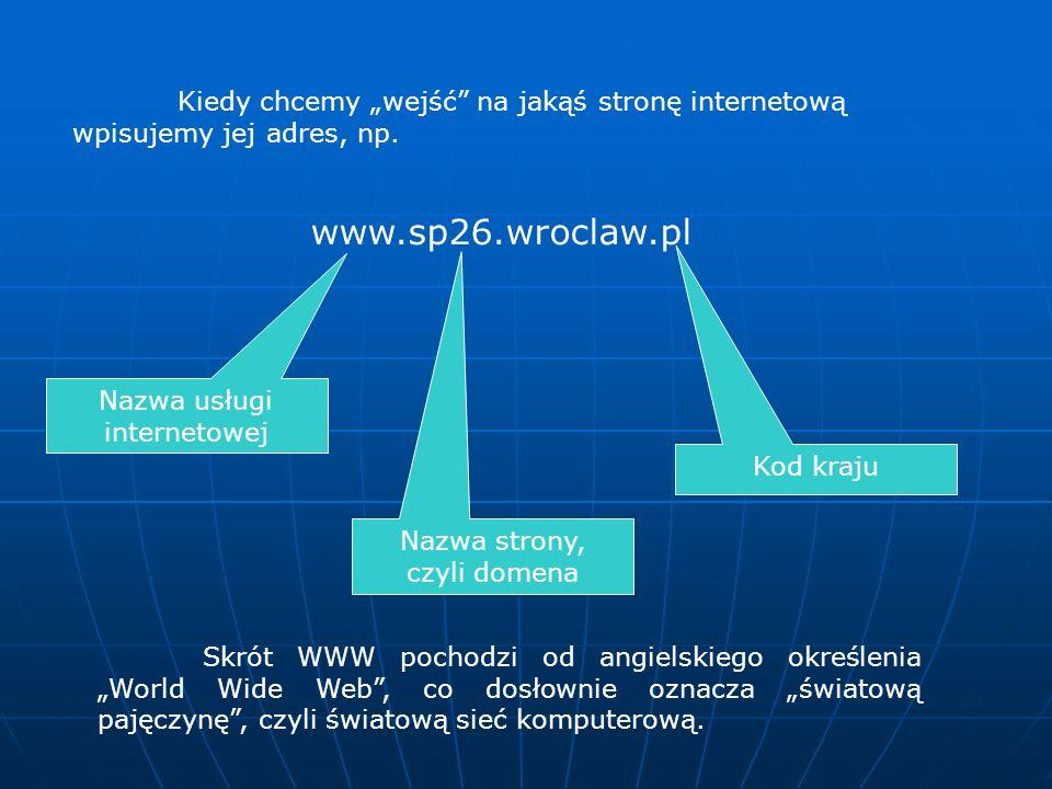 Kiedy chcemy wejść na jakąś stronę internetową wpisujemy jej adres, np.