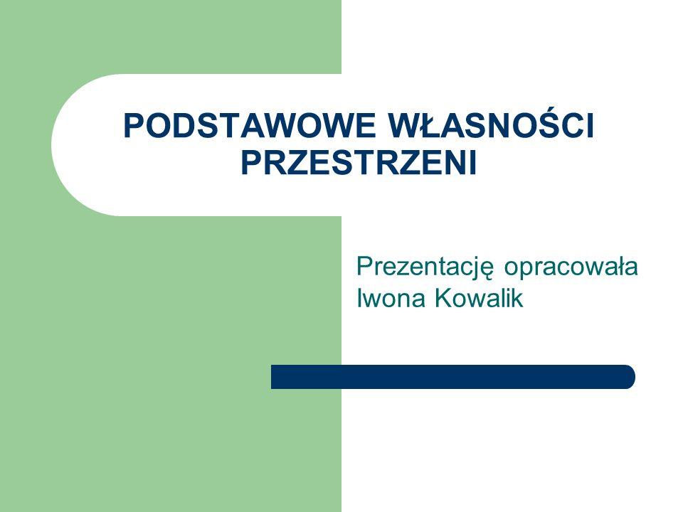 PODSTAWOWE WŁASNOŚCI PRZESTRZENI Prezentację opracowała Iwona Kowalik