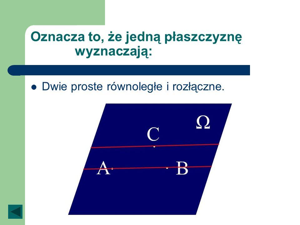 Oznacza to, że jedną płaszczyznę wyznaczają: Dwie proste równoległe i rozłączne.