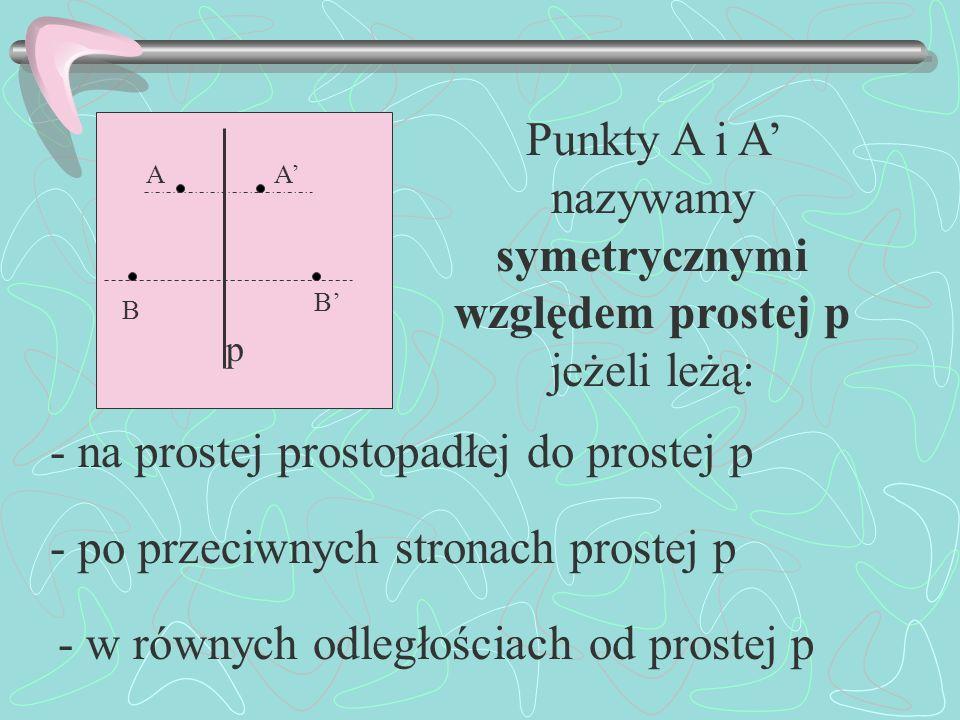 p AA B B Punkty A i A nazywamy symetrycznymi względem prostej p jeżeli leżą: - na prostej prostopadłej do prostej p - po przeciwnych stronach prostej p - w równych odległościach od prostej p