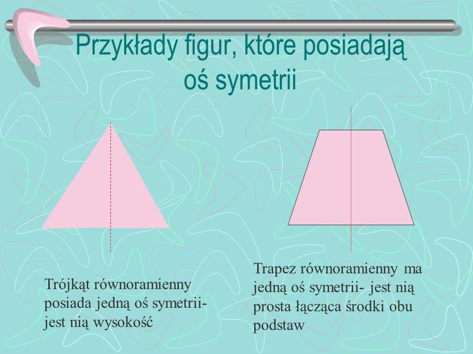 Przykłady figur, które posiadają oś symetrii Trójkąt równoramienny posiada jedną oś symetrii- jest nią wysokość Trapez równoramienny ma jedną oś symetrii- jest nią prosta łącząca środki obu podstaw