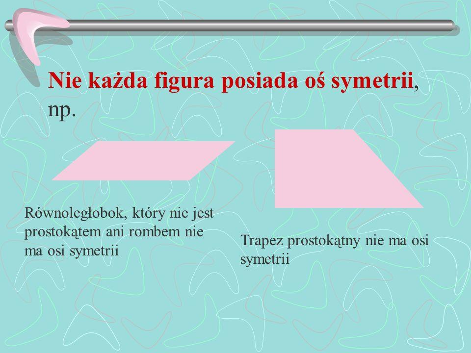 Nie każda figura posiada oś symetrii, np. Równoległobok, który nie jest prostokątem ani rombem nie ma osi symetrii Trapez prostokątny nie ma osi symet