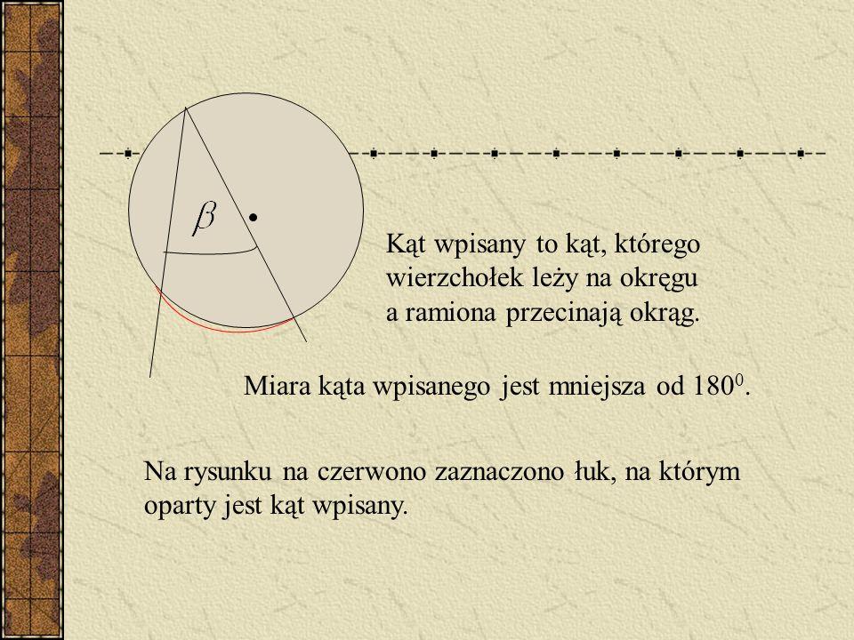 Kąt środkowy to kąt, którego wierzchołek jest środkiem okręgu. Na czerwono zaznaczony jest łuk okręgu, na którym kąt środkowy jest oparty.