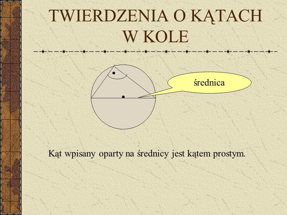 TWIERDZENIA O KĄTACH W KOLE Kąt wpisany ma miarę dwa razy mniejszą od kąta środkowego opartego na tym samym łuku. Kąty wpisane oparte na tym samym łuk