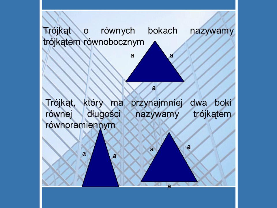 Trójkąt o równych bokach nazywamy trójkątem równobocznym Trójkąt, który ma przynajmniej dwa boki równej długości nazywamy trójkątem równoramiennym aa