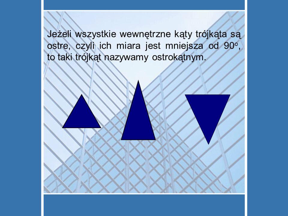 Jeżeli wszystkie wewnętrzne kąty trójkąta są ostre, czyli ich miara jest mniejsza od 90 o, to taki trójkąt nazywamy ostrokątnym.