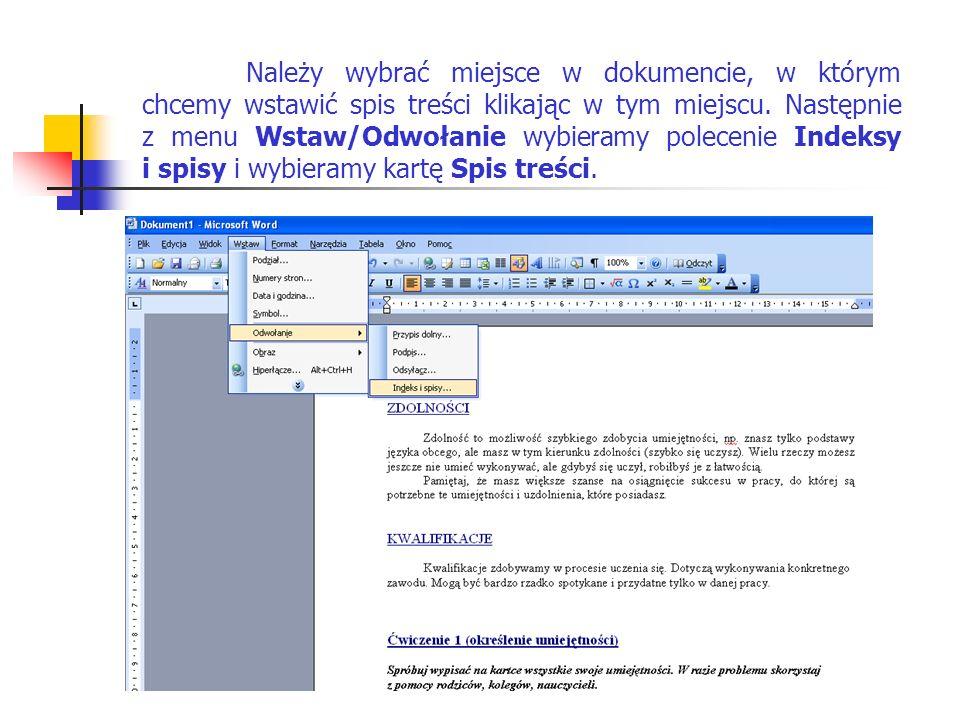 Ustalamy, czy spis treści ma pokazywać numery stron, znaki wiodące tabulacji oraz wybieramy format spisu.