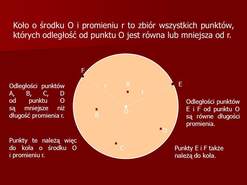 Koło o środku O i promieniu r to zbiór wszystkich punktów, których odległość od punktu O jest równa lub mniejsza od r.. r O.... A B C D. E Odległości