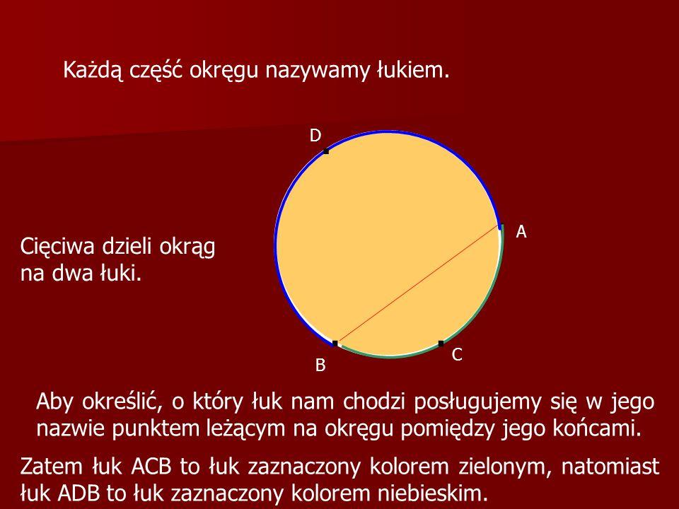 .. Cięciwa dzieli okrąg na dwa łuki. Każdą część okręgu nazywamy łukiem. A B Aby określić, o który łuk nam chodzi posługujemy się w jego nazwie punkte
