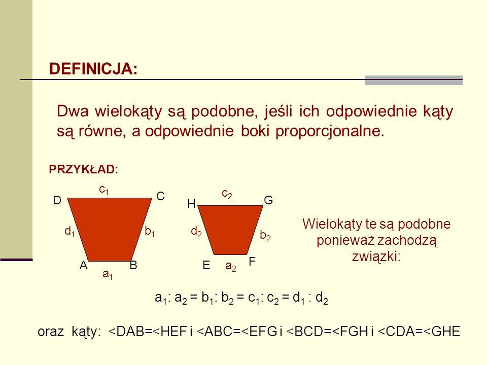 DEFINICJA: Dwa wielokąty są podobne, jeśli ich odpowiednie kąty są równe, a odpowiednie boki proporcjonalne. PRZYKŁAD: a1a1 a2a2 b1b1 b2b2 c2c2 c1c1 d