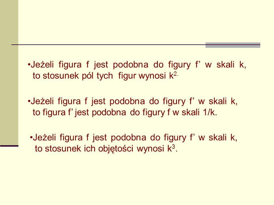Jeżeli figura f jest podobna do figury f w skali k, to stosunek pól tych figur wynosi k 2.