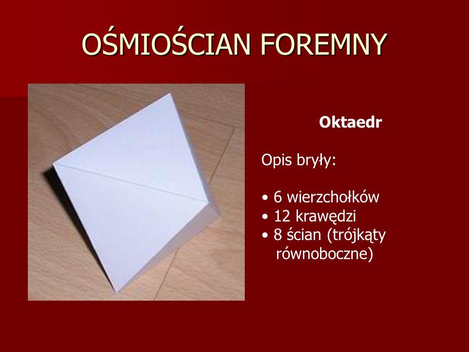 OŚMIOŚCIAN FOREMNY Oktaedr Opis bryły: 6 wierzchołków 12 krawędzi 8 ścian (trójkąty równoboczne)