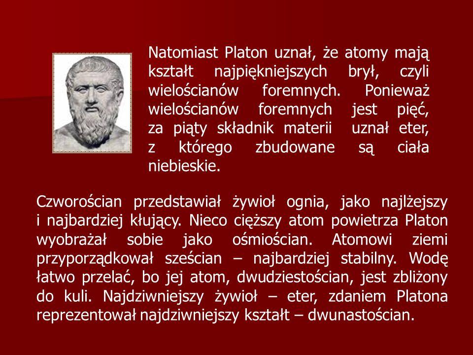 Natomiast Platon uznał, że atomy mają kształt najpiękniejszych brył, czyli wielościanów foremnych. Ponieważ wielościanów foremnych jest pięć, za piąty