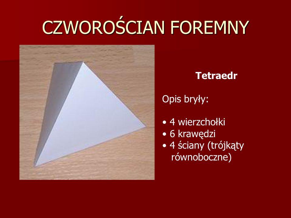 CZWOROŚCIAN FOREMNY Tetraedr Opis bryły: 4 wierzchołki 6 krawędzi 4 ściany (trójkąty równoboczne)