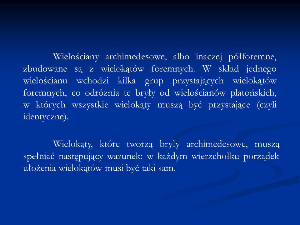 Wielościany archimedesowe, albo inaczej półforemne, zbudowane są z wielokątów foremnych. W skład jednego wielościanu wchodzi kilka grup przystających