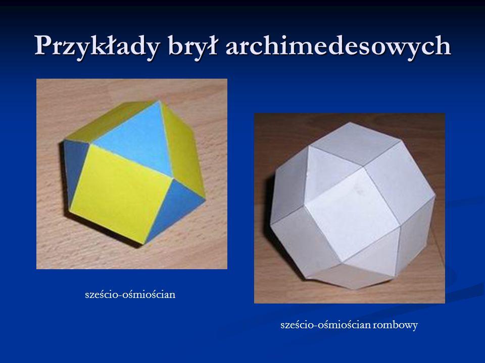 Przykłady brył archimedesowych sześcio-ośmiościan sześcio-ośmiościan rombowy