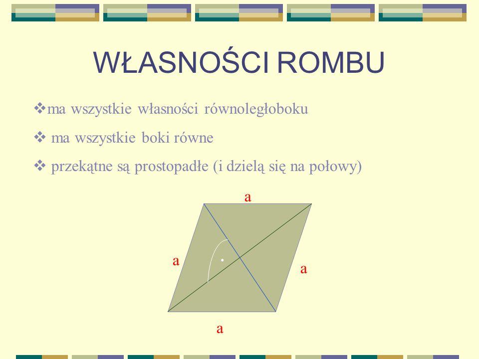 WŁASNOŚCI PROSTOKĄTA- c.d. przekątne są równej długości istnieją dwie osie symetrii, które są symetralnymi boków