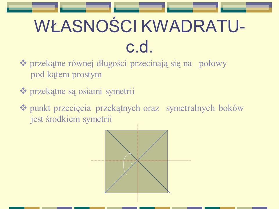 WŁASNOŚCI KWADRATU ma wszystkie boki równe ma wszystkie kąty proste symetralne boków są osiami symetrii a a a a....