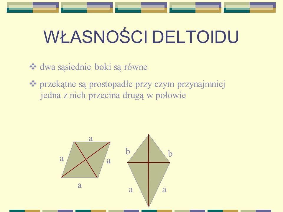 W grupie czworokątów wyróżniamy też latawce (deltoidy). Latawiec to czworokąt, który ma dwie pary sąsiednich boków równej długości.