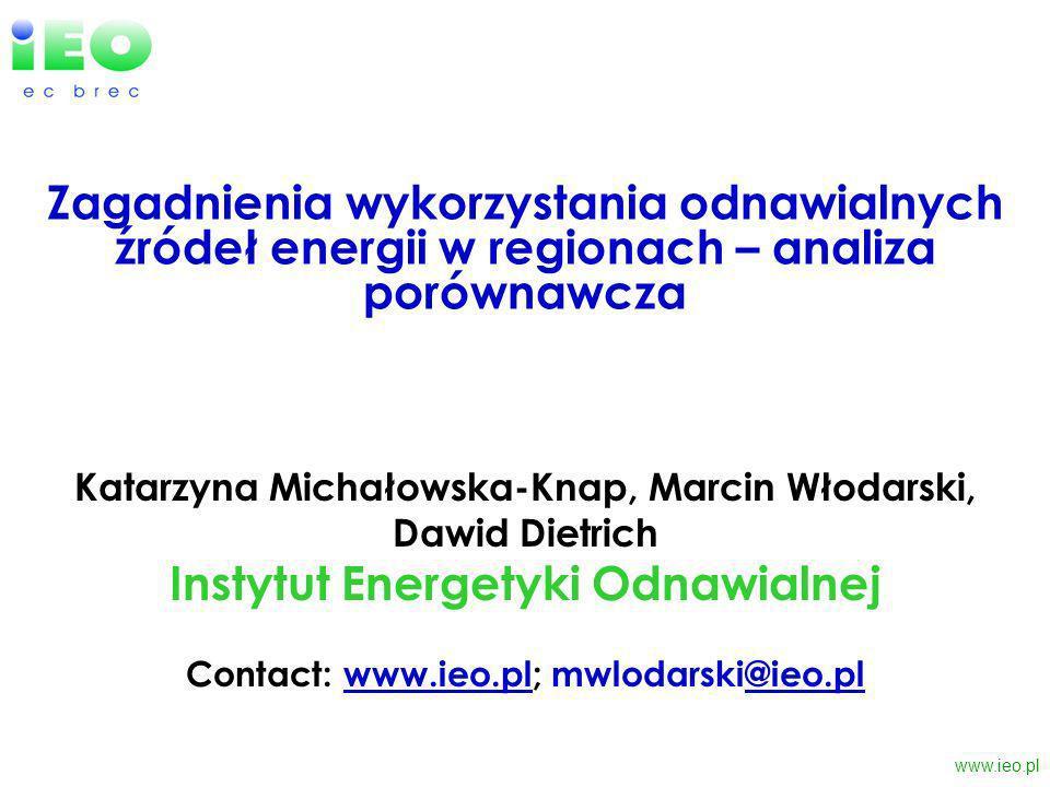 www.ieo.pl Stan wykorzystania potencjału technicznego - struktura produkcji energii elektrycznej z OŹE, 2005 Źródło: ARE Ok.