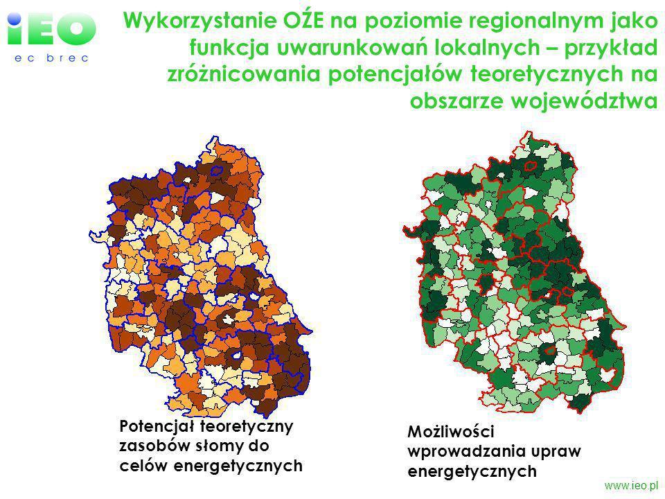 www.ieo.pl Wykorzystanie OŹE na poziomie regionalnym jako funkcja uwarunkowań lokalnych – przykład zróżnicowania potencjałów teoretycznych na obszarze województwa Potencjał teoretyczny zasobów słomy do celów energetycznych Możliwości wprowadzania upraw energetycznych