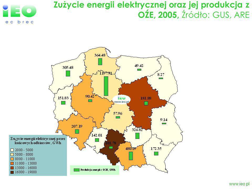 www.ieo.pl Produkcja energii elektrycznej oraz ceny dla odbiorców końcowych, 2005, Źródło: ARE