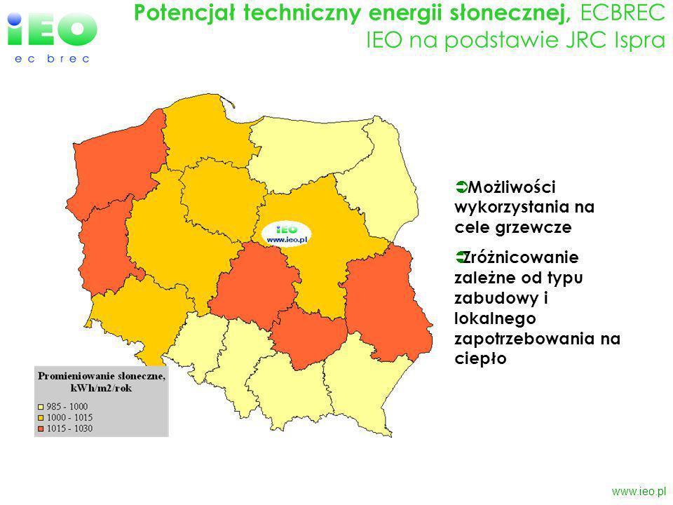 www.ieo.pl Podsumowanie Polska jest krajem o wyraźnie zróżnicowanej regionalnie strukturze produkcji i zużycia energii Każde województwo posiada odrębną specyfikę pod względem potencjału technicznego OŹE oraz możliwości jego wykorzystania Bardzo istotne jest zróżnicowanie przestrzenne o skali lokalnej oraz koordynacja działań na poziomie gminnym i powiatowym w regionie Lata 2007-2013 to unikalna okazja pozyskania znaczących środków na inwestycje w zakresie OŹE (na poziomie centralnym i regionalnym oraz w ramach INTERREG) Optymalne wykorzystanie lokalnych zasobów OŹE oraz zagospodarowanie dostępnych środków wymaga wzmożonych działań w zakresie planowania strategicznego (mało optymistyczne doświadczenia z wykorzystania środków w latach 2004-2006) Środki finansowe dostępne na OŹE w ramach RPO powinny zostać przeznaczone na wsparcie przedsiębiorczości lokalnej (głównie MŚP) w regionie W celu zwiększenia absorpcji środków z poziomu centralnego i przyciągnięcia większej liczby inwestycji wielkoskalowych można skierować środki na rozbudowę infrastruktury dodatkowej (np.
