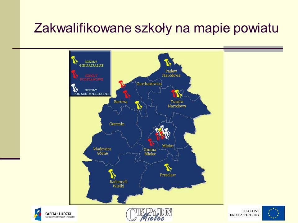 Zakwalifikowane szkoły na mapie powiatu