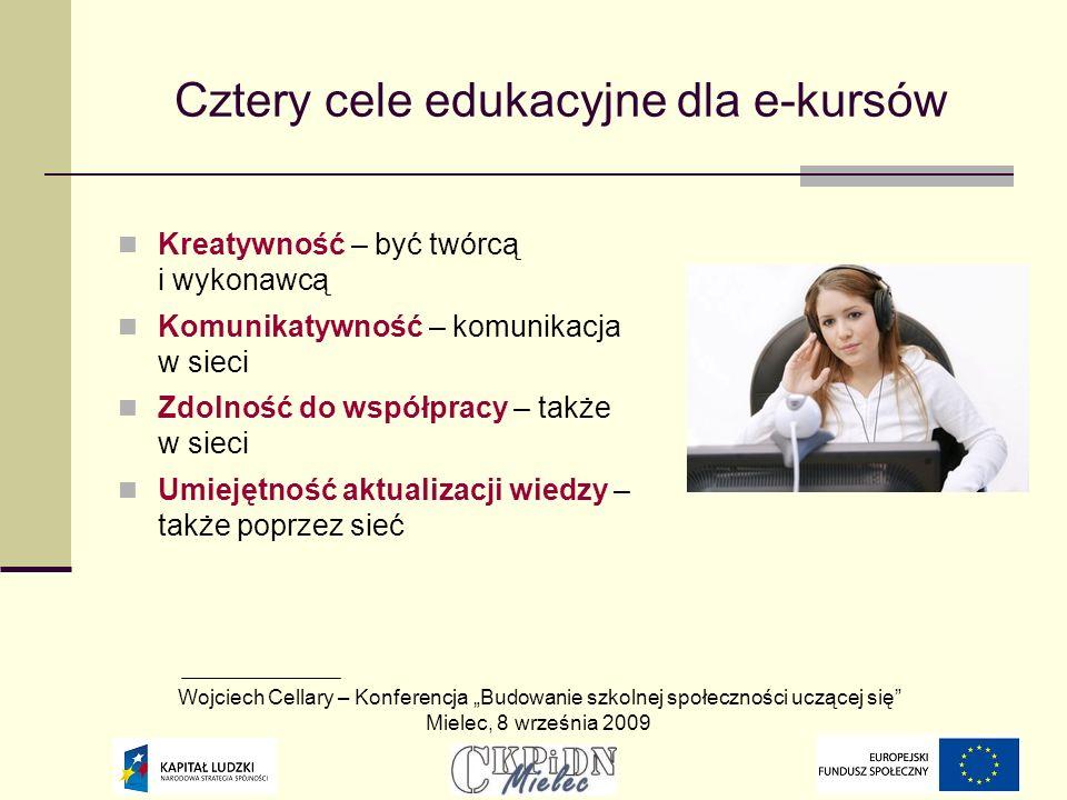 Cztery cele edukacyjne dla e-kursów Kreatywność – być twórcą i wykonawcą Komunikatywność – komunikacja w sieci Zdolność do współpracy – także w sieci