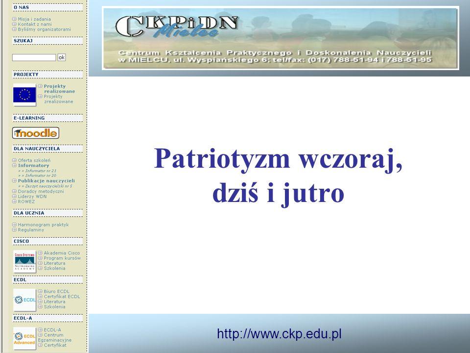 http://www.ckp.edu.pl Patriotyzm wczoraj, dziś i jutro