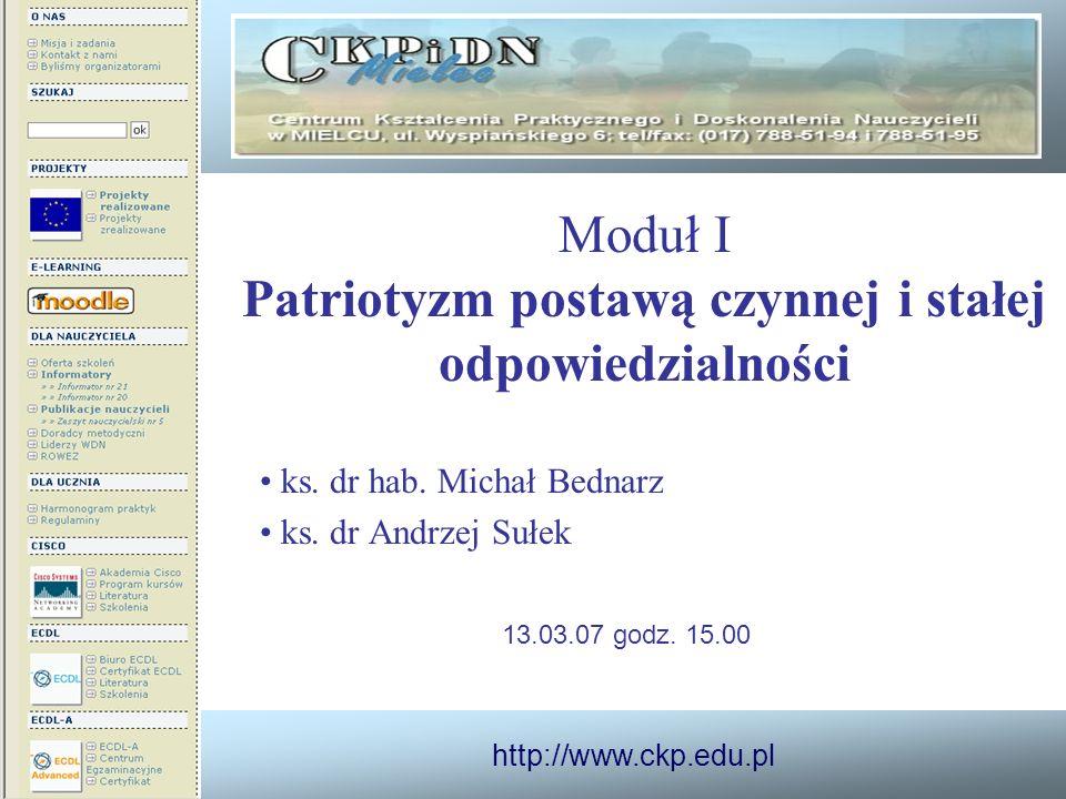 http://www.ckp.edu.pl Moduł I Patriotyzm postawą czynnej i stałej odpowiedzialności ks. dr hab. Michał Bednarz ks. dr Andrzej Sułek 13.03.07 godz. 15.